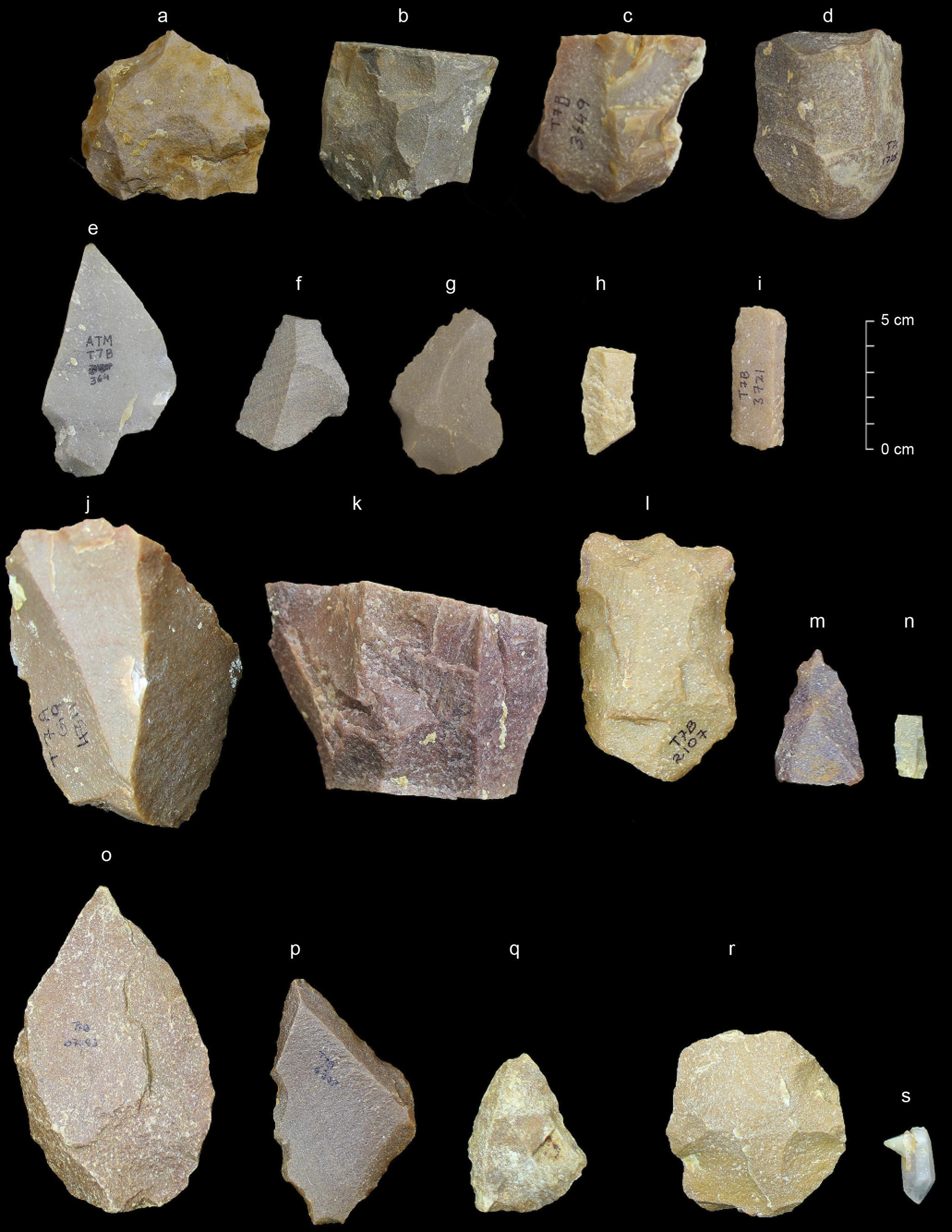 This image provided by the Sharma Centre for Heritage Education, India in January 2018 shows a sample of artifacts from the Middle Palaeolithic era found at the Attirampakkam archaeological site in southern India. The discovery of stone tools at the site shows a style that has been associated elsewhere with our species. They were fashioned from 385,000 years ago to 172,000 years ago, showing evidence of continuity and development over that time. That starting point is a lot earlier than scientists generally think Homo sapiens left Africa. (Kumar Akhilesh, Shanti Pappu/Sharma Centre for Heritage Education, India via AP) ORG XMIT: NY949